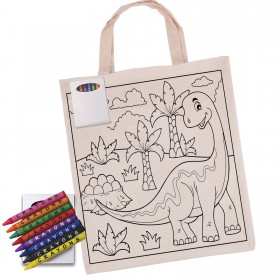 Colouring in Calico Bag with Crayons