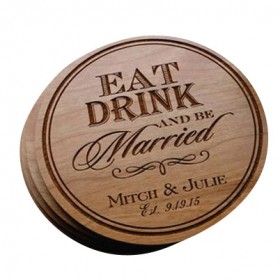 Wooden Heat Stamped Coasters